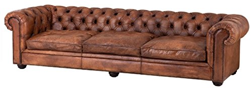Casa Padrino Büffelleder 3er Sofa Tobacco Braun 280 x 94 x H. 70 cm - Luxus Echtledersofa
