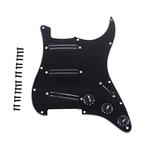 Musiclily 11 Orificios SSS Loaded Pickguard Pre-cargado Golpeador con Dual Hot Rail High Output Pastillas Set para Guitarra Eléctrica Fender Squier Strat, 3 capas Negro