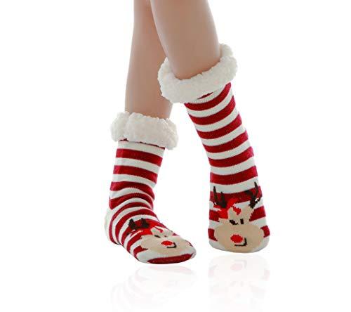 WYTartist Calze a Pantofola Donna Ciabatta da Donna a Maglia Doppia Calzino Furry Foderato in Pile Caldo Antiscivolo Scarponcino Ultra Morbidi (Red Deer)