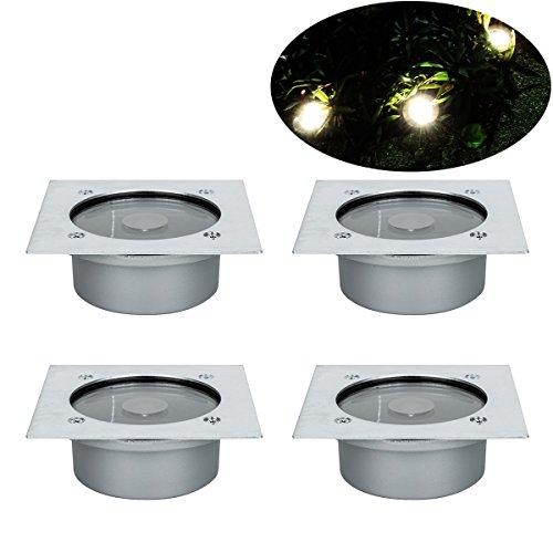 Solar Bodenleuchte, RMAN 4 Stück Solarleuchten Garten Licht Wasserdichtes IP65 Bodenleuchten Gartenleuchten Helles Weiss Solarlampen Bodenstrahler Licht