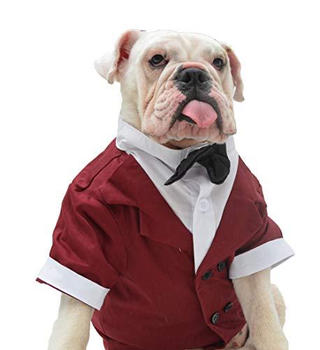Lovelonglong Bulldog Costume Dog Suit Formal Tuxedo with Black Bow Tie Wedding Clothes for Pugs/French Bulldog/English Bulldog/American Pit Bull Brown B-S