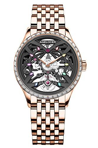Agelocer Top marca mecánico esqueleto automático reloj de lujo elegante señoras Navidad San Valentín, Nk_6704e9,