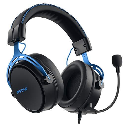 Mpow Air SE PS4 Auriculares con sonido 3D, micrófono de cancelación de ruido desmontable, almohadillas de memoria suave inspiradas, auriculares multi-plataforma para PC/Xbox One/SwitchV