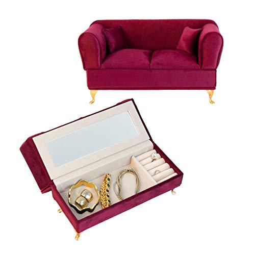 Schmuckkästchen 'Couch' mit Spiegel 24x9,5x13,4cm Dunkelrot Schmuckschatulle Aufbewahrung