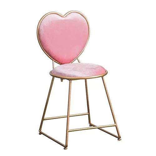 Sillas de comedor en forma de corazón, taburete cosmético rosa, hierro forjado, restaurante, dormitorio, cafetería, pastelería, silla para niña, taburete de ocio, taburetes de bar para interiores y e