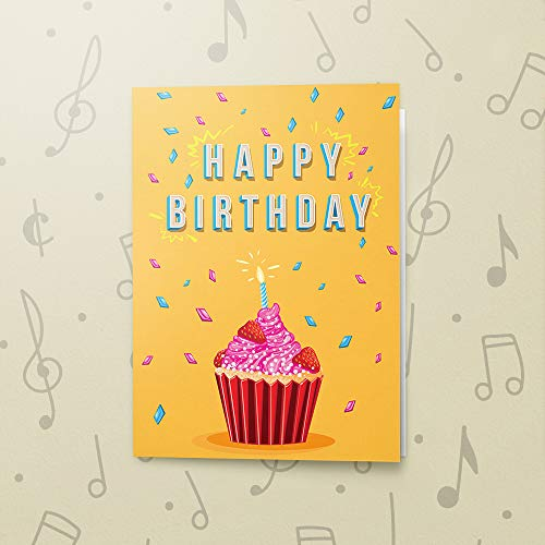 Cupcake Birthday Card With Music | Birthday Greeting Card, Recordable Birthday Card, Musical Birthday Card, Birthday Greeting Card Cupcake 00005 (120 Second Recordable)