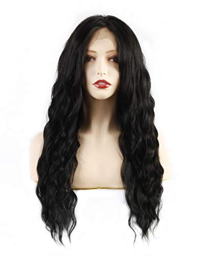 Life Diaries 30% HUMAN Hair+70% Heat Resistant KANEKALON Fiber Breatable Black Lace Front Wig Long Wavy Half Hand Tied wig Pre Plucked Natural Hairline For Women 22 Inch