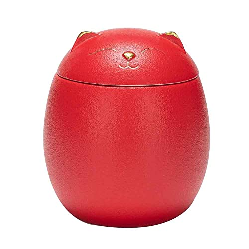 YQWYS Lucky Cat - Cenicero de cerámica para té, mini cenicero pequeño, latas herméticas para gatitos creativos, latas de té de recuerdo para negocios en el hogar, color rojo