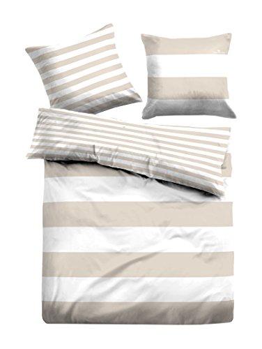TOM TAILOR 0049769 Linon Bettwäsche Garnitur mit Kopfkissennbezug (Baumwolle) 135x200 cm + 1x 80x80 cm, Taupe