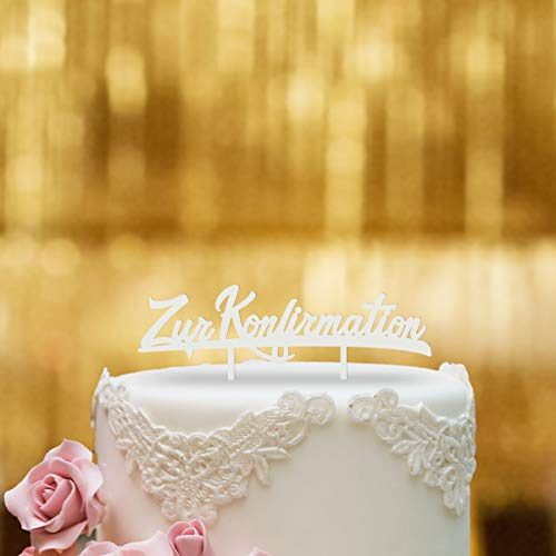 Dankeskarte.com Cake Topper Zur Konfirmation - für die Torte zur Konfirmation - Acrylglas Weiss - XL - Tortenaufsatz, Kuchen, Tortendeko, Tortenstecker, Kuchanaufsatz, Kuchendeko