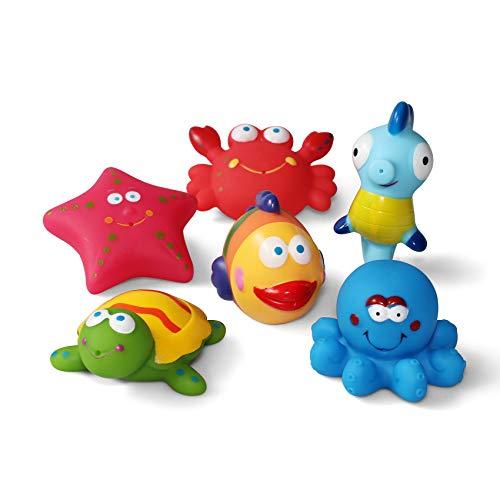 JUNSHEN Juguetes de baño(6PCS), Juguetes para bebés, Juguetes para el Agua, Juguetes para el Agua y Juguetes para niños pequeños- Tortuga, Pescado, Caballos de mar