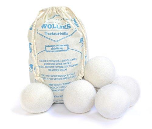6er Pack Trocknerbälle - Bälle aus 100% Schafswolle zur Nutzung im Wäschetrockner, für schnelleres Trocknen und weichere Wäsche. Zeit und Kosten sparen durch Trocknerbälle für jede Wäsche, Decke, Kissen, Kopfkissen oder Daunen im Trockner. Schonende Trocknerkugeln für Wäschetrockner.