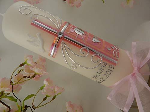 Taufkerze Kreuz rosa Perlmutt silber mit Taufsymbolen Taufkerzen für Mädchen 250/70 mm mit Name und Datum