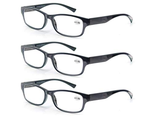 Un Pack de 3 Gafas de Lectura 4.0/Gafas para Presbicia Hombre Mujer,Buena Vision Ligeras Comodas,Vista de Cerca/Vista Cansada,Colores Negro