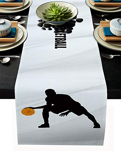 FAMILYDECOR Camino de mesa de arpillera de lino, 33 x 91 cm, diseño de baloncesto con fondo gris, antideslizante, para fiestas de vacaciones, comedor, cocina, decoración de boda