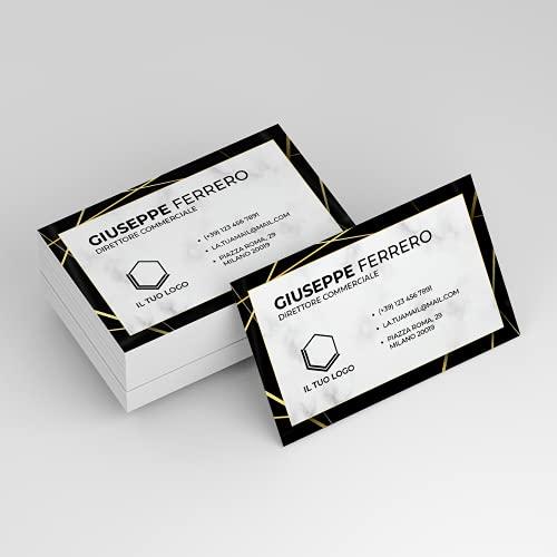 Biglietto da Visita F.to 8,5x5,5cm PERSONALIZZATO LUXURY 100 pz   PERSONALIZZA LIBERAMENTE   Stampa a Colori solo Fronte   Elegante   Nero e Oro