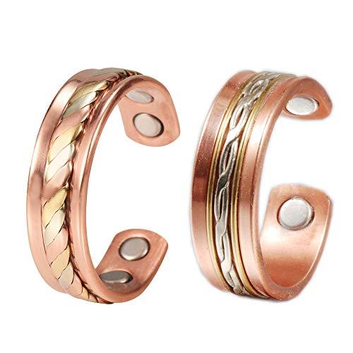 YINOX - Juego de anillos de cobre para hombres antiguos ajustables con 4 imanes