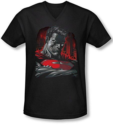 Superman - - Homme Hommes de T-shirt à encolure en V en acier, X-Large, Black