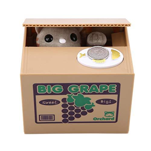 Caja de ahorro de dinero, Gato robado automático, Moneda de gato Centavos Caja de ahorro de dinero para niños(Grape Cat)