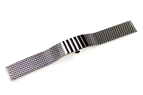 POLJOT International Uhrenarmband Metall 18mm Edelstahl Milanaise-Band Länge 16cm gerader Anstoß Watch Strap