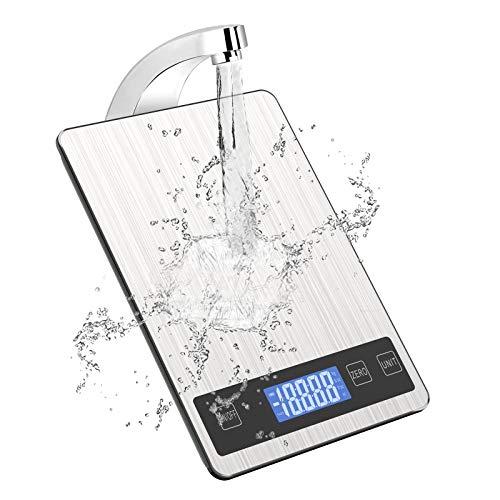 Báscula digital de cocina, báscula de cocina eléctrica, 5 kg, de acero...