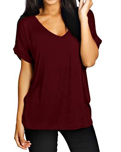 ZANZEA Damen V-Ausschnitte Kurz Ärmel Lose Langshirt T-Shirt Tops Bluse Weinrot EU 46/Etikettgröße XL