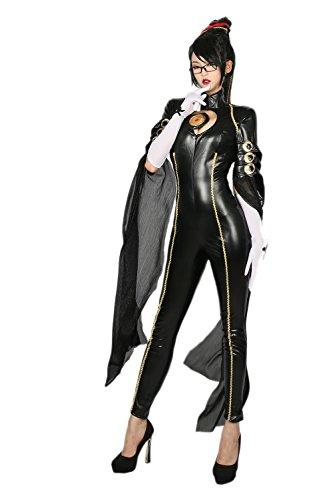 Xcoser Bayonetta Costume Deluxe Black PU Jumpsuit Women Cosplay Suit S