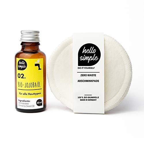 hello simple - 5 Stück Zero-Waste waschbare Abschminkpads aus Bio-Baumwolle - wiederverwendbar, nachhaltig, plastikfrei - 5er-Pack - weiß (ecru) mit Bio-Jojobaöl