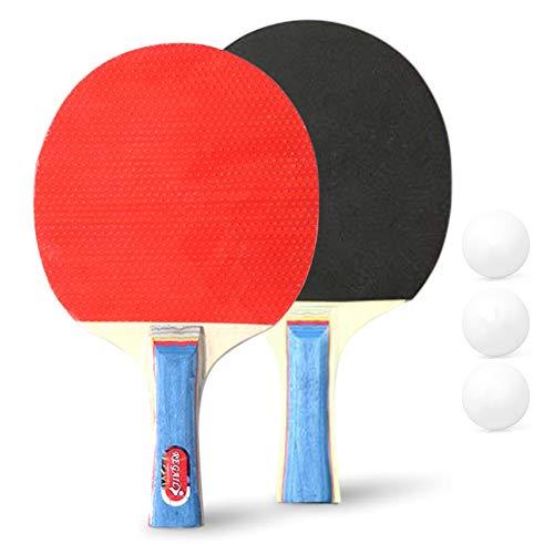WHCL Conjunto de paletas de Ping Pong, Juego de Ping Pong de 2 Piezas con 3 Bolas, murciélago de Tenis de Mesa con Mango Duradero y Goma Robusta, para Juegos de Interior/al Aire Libre