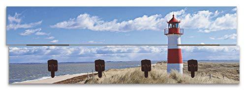 Artland Wandgarderobe Holz Design mit 4 Haken Quer Garderobe mit Motiv 90x30 cm Strand Küste Meer Himmel Gräser Nordsee Leuchtturm Sylt T9ML