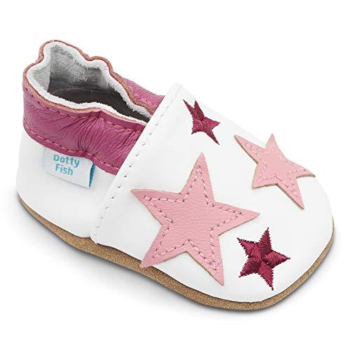 Dotty Fish Weiche Baby und Kleinkind Lederschuhe. Mädchen. Weiß und Hellrosa Sterne. 18-24 Monate (23 EU)