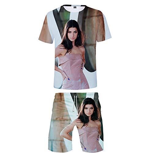NCTCITY Nios Adultos T-Shirts + Pantalones Cortos Set Casuales Charli D'Amelio Impresin 3D Camiseta Top y Pantalones Cortos Dos Piezas De Verano