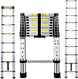Multibao 3.2M/10.5FT Telescopic Ladder Multi-Purpose Folding Aluminium Telescoping Extendable Portable Loft Ladder Foldable EN131 Multi-Purpose Home Office Garden