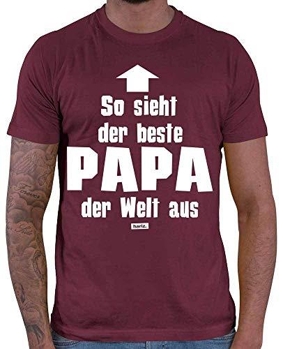 HARIZ Herren T-Shirt Bester Papa Der Welt 4 Papa Männer Sohn Plus Geschenkkarten Wein Rot M