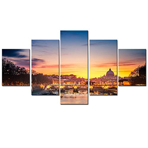 MYSY Saint Peter's Square Painting 5 Panel Wall Art Picture Print Canvas Print Painting Art for Living Room Bedroom Decor-40x60 40x80 40x100cm sin Marco