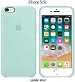 Funda Silicona para iPhone 5, 5s, SE Silicone Case Calidad, Textura Suave, Forro Interno Microfibra (Verde-mar)
