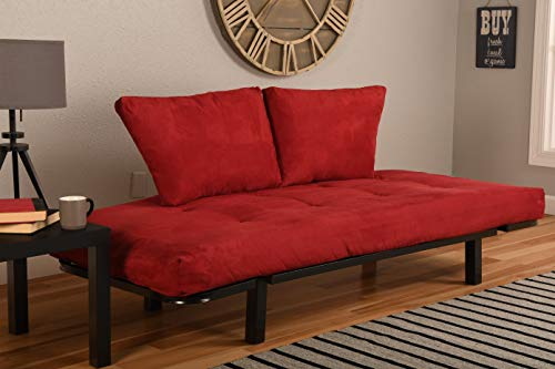 Price comparison product image Kodiak Futons Futon Frame and Mattress Set in Black and Suede Red Finish