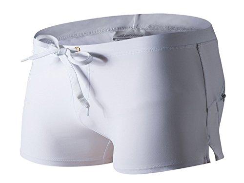Panegy Herren Badehose Badeshorts Schwimmhose Wassersport Beiläufige Kurz Hose mit Kordelzug Rückentasche - Weiß