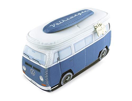 BRISA VW Collection - Volkswagen T2 Bulli Universal-Schmink-Kosmetik-Kultur-Reise-Hausrats-Tasche-Mäppchen-Beutel im 3D-Design aus Neopren (Neopren/Blau)