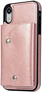 iPhone XR Case, Wallet Case with Card Slot Holder Handbag Purse Wrist Strap Premium Leather Kickstand Shockproof Protective Cover for iPhone XR,Rose Gold