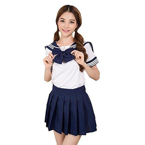 JYSPORT School Costume Anime Sailor Cosplay Student Uniform Fancy Dress Japan Outfit (Dark Blue, S)