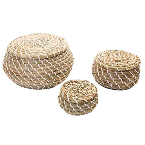 NICEXMAS 3 Unids Cesta Tejida Seagrass Mimbre Mimbre Cestas de Almacenamiento Caja Cestas Redondas de Picnic Cestas de Lavandería con Tapa