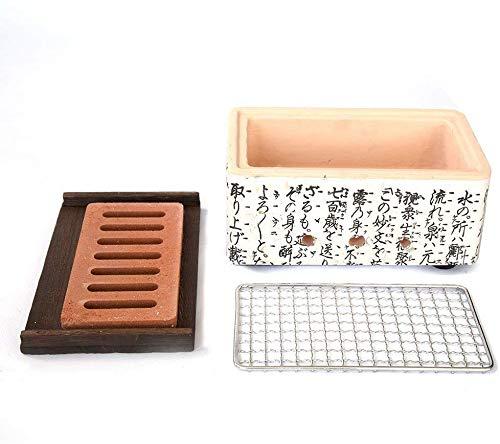 Seny Japanese Korean Ceramic HIBACHI BBQ Table Grill Large Yakatori Charcoal Grill (Rectangle) 10L x 6W x 5H inches
