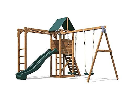 Pressure Treated Playhouse Wave Slide Swing Set - MonkeyFort® Woodland