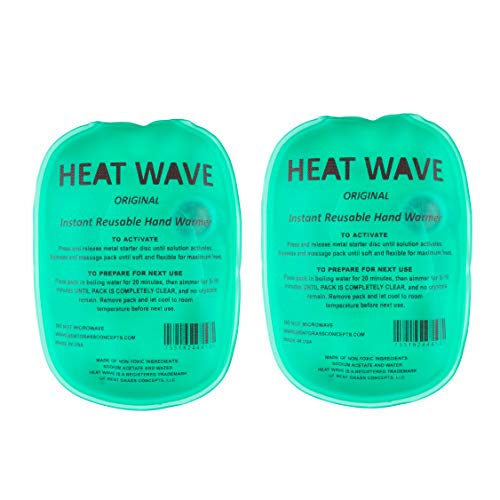 "Made in USA: Heat Wave Instant Reusable Heat Packs, Instant Reusable Hand Warmers 2-Pack, for Camping, Hiking, and Pain Relief (3"" x 5""), Click Heat"