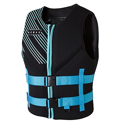 FSDH Chaqueta de Rescate de Nylon Impermeable con cinturón de Seguridad Ajustable, Chaleco de natación para Adultos, Chaleco de Vida de Pesca de Primeros Auxilios de kaya Blue-XL