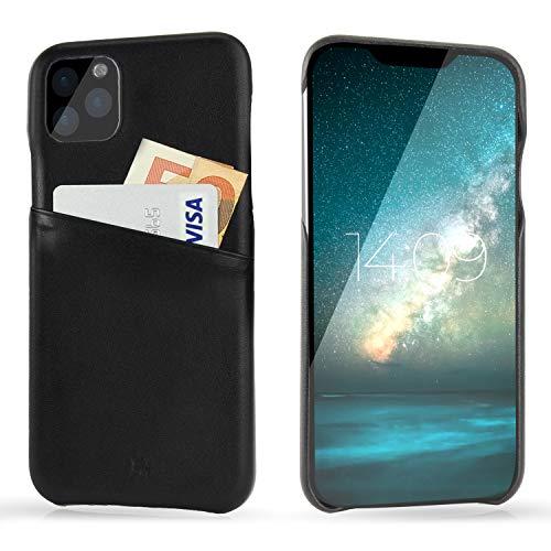 BULLAZO Menor Urban – kompatibel mit iPhone 11 / XI Hülle Schutzhülle Handy Hülle Kartenfach aus Leder schwarz 6,1