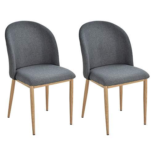 homcom Set 2 Sedie Sala da Pranzo, Seduta Imbottita ed Ergonomica con Gambe in Acciaio e Rivestimento in Lino 50 x 58 x 85cm