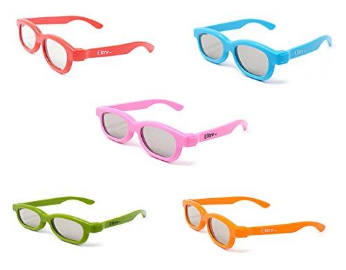 Gemengde verpakking met 5 3D-bril voor kinderen met alle passieve televisies en RealD-film gepolariseerd.
