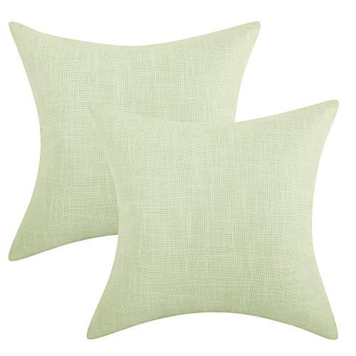 Lewondr Fine Linen Throw Pillow Case, Set of 2 Square Soft Woven Fine Throw Pillow Cover Sham Sofa Cushion Decoration Solid Color Pillowcase 18 x 18 Inch - Platinum